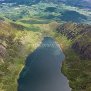 Coumshingaun Lake Aerial, Comeragh Mountains 3 - Peter Grogan Stock Photography