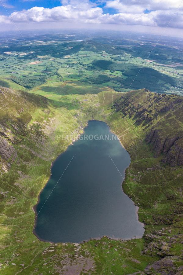Coumshingaun Lake Aerial, Comeragh Mountains 3 - Peter Grogan Stock Photography