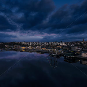 New Ross Aerial – River at Night 1 - Peter Grogan Stock Photography