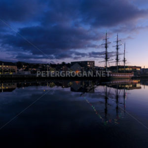 New Ross Aerial – River at Night 2 - Peter Grogan Stock Photography