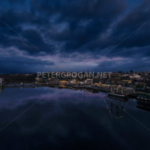 New Ross Aerial – River at Night 3 - Peter Grogan Stock Photography